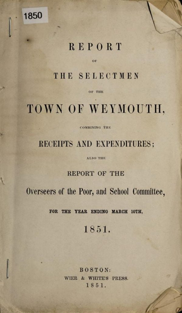 1850 Annual Report for Weymouth Massachusetts