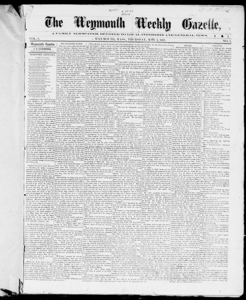 The Weymouth Weekly Gazette 2 May 1867 - FM